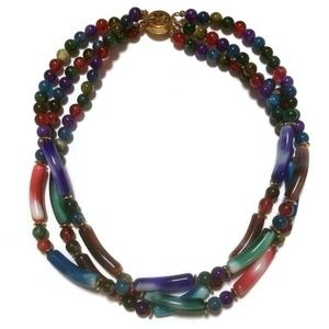 Swirl Royal Colors Glass Bead Necklace